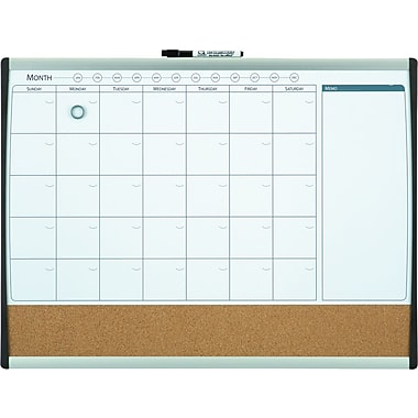 Quartet® Magnetic Combination Calendar Board, Dry-Erase & Cork, 1-Month Design, Black/Silver Frame, 17in. x 23in.