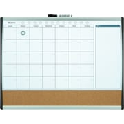 Quartet® Magnetic Combination Calendar Board, Dry-Erase & Cork, 1-Month Design, Black/Silver Frame, 17 x 23