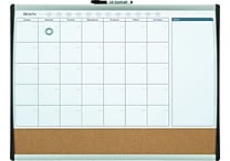 Quartet® Magnetic Combination Calendar Board, Dry-Erase & Cork, 1-Month Design, Black/Silver Frame, 17' x 23'
