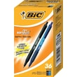 BIC® Soft Feel® Retractable Ballpoint Pens, Medium Point, Black & Blue Ink, 36/Pack