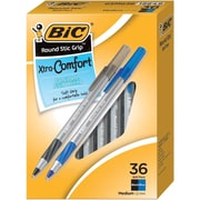 BIC® Round Stic Grip™ Ballpoint Pens, 1.2mm, Medium Point, Black & Blue Ink, 36/Pack (GSMG361-AST)