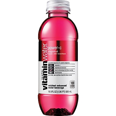 Glaceau Vitaminwater, Power-C, Dragonfruit, 16.9 oz., 24 Bottles/Case