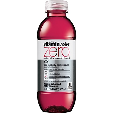 Glaceau Vitaminwater, Zero, XXX, Acai Blueberry Pomegranate, 16.9 oz., 24 Bottles/Case