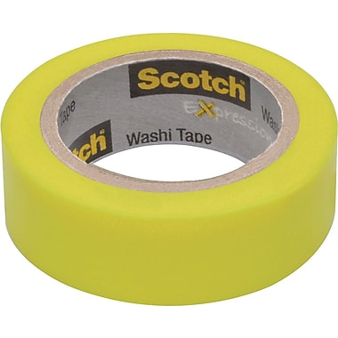 Scotch® Expressions Washi Tape, Neon Green Solid, 3/5in. x 393in.