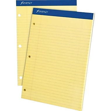 Ampad® Dual-Pad, 8-1/2in. x 11-3/4in., Canary, Notepad, Wide Ruled