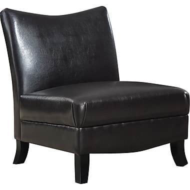 Monarch Leather-Look Accent Chair, Dark Brown