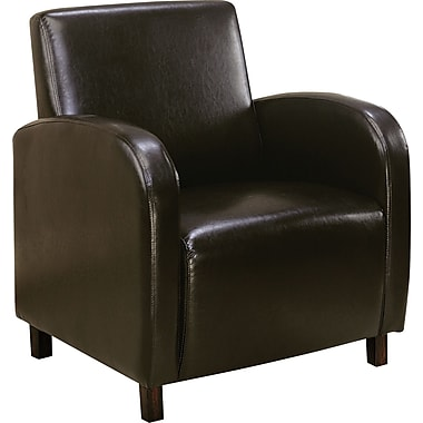 Monarch Leather-Look Accent Chair With Arms, Dark Brown