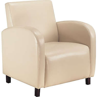 Monarch Leather-Look Accent Chair With Arms, Beige