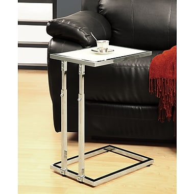 Monarch Adjustable Height Accent Table / Tempered, Chrome Metal