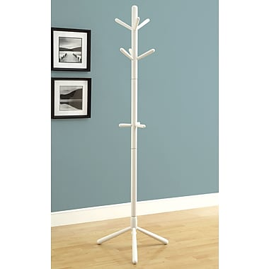 Monarch Contemporary Solid Wood Coat Rack, White