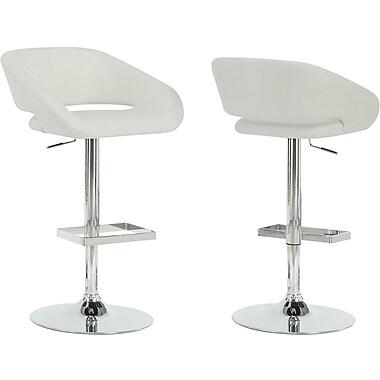 Monarch Metal Hydraulic Lift Barstool, Bucket Seat, White / Chrome
