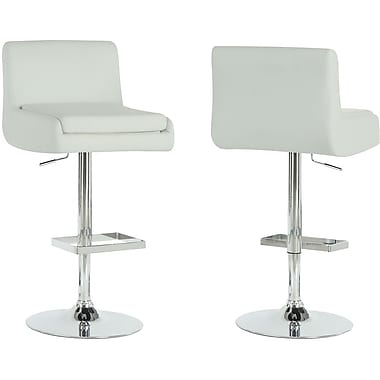 Monarch Metal Hydraulic Lift Barstool, Square Seat, White / Chrome, 2/Pack