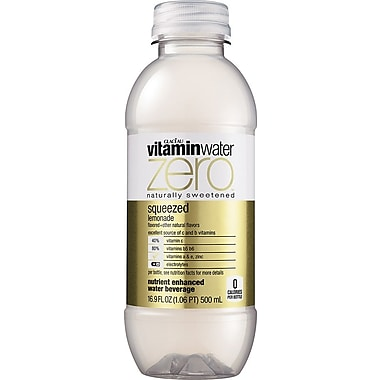 Glaceau Vitaminwater, Zero, Squeezed Lemonade, 16.9 oz., 24 Bottles/Case