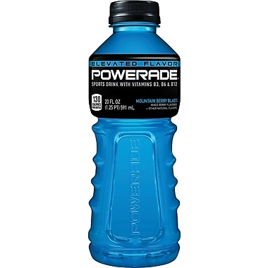 Powerard Sports Drink, 20 oz., Mountain Berry Blast, 24 Bottles/Pack