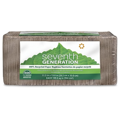 Seventh Generation Unbleached Napkins, 500/Pack