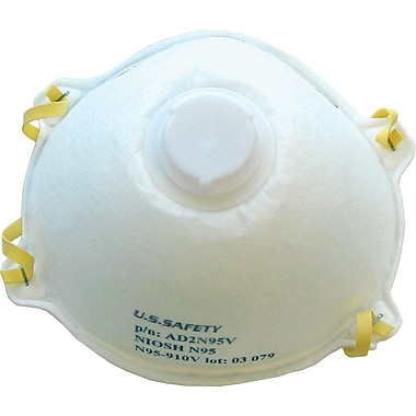 US Safety N95 Disposable Respirators with Exhalation Valve, 12/Box