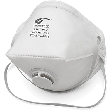 US Safety N95 Flat-Fold Disposable Respirators, with Exhalation Valve, 10 per Box