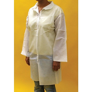 Keystone Disposable Polypropylene Pocketless Snap-Front Lab Coats with Elastic Wrists, White, 30 g, Medium, 30/Case