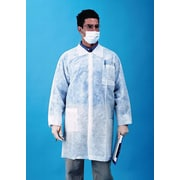Keystone Disposable Polypropylene Snap-Front Lab Coats with Three Pockets and Open Wrists, White, 30 g, 30/Case