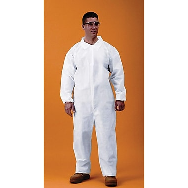 Keystone Disposable Keyguard Coveralls with Elastic Wrists and Ankles, White, Large, 25/Case
