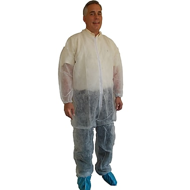 Keystone Disposable Polypropylene Coveralls with Elastic Wrists and Ankles, White, 30 g, 2XL, 25/Case