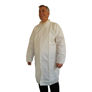 Keystone Disposable Keyguard Pocketless Lab Coats with Open Wrists, White, Medium, 30/Case