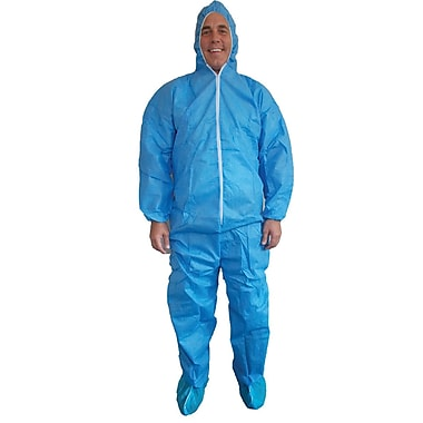 Keystone Disposable SMS Coverall with Attached Elastic Hood, Back and Wrists, Blue, 40 g, Medium, 25/Case