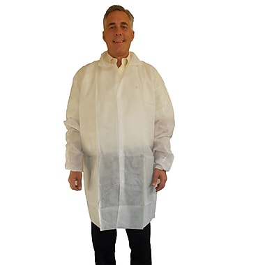 Keystone Disposable SMS Pocketless Snap-Front Lab Coat with Elastic Wrists, White, 40 g, Large, 30/Case