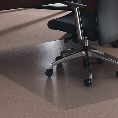 Floortex™ Polycarbonate Rectangular Chairmat Plush Pile Carpet, Rectangle, 47