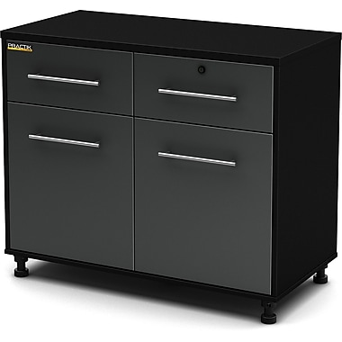 South Shore Karbon Base Cabinet, Charcoal & Black