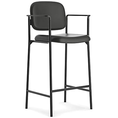basyx by HON HVL636 Cafe-Height SofThread Leather Stool, Black