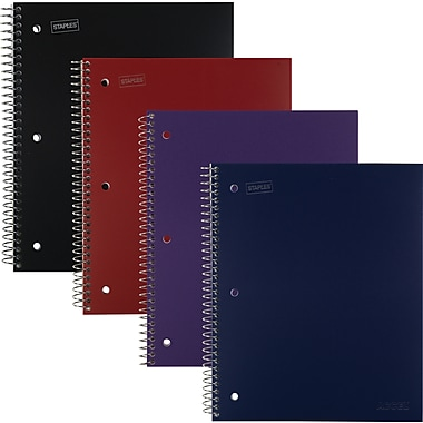 Staples® Accel Durable Poly Cover Notebooks, 1 Subject, Wide Rule, 8