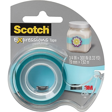Scotch® Expressions Magic™ Tape with Dispenser, 19 mm x 7.62 m, Turquoise