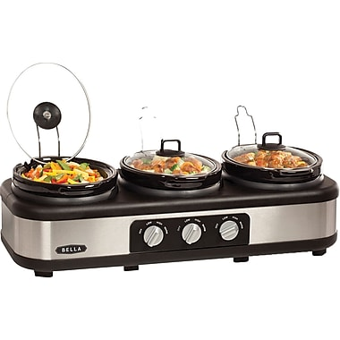 BELLA 2.5 Quart Triple Slow Cooker, Black/Stainless