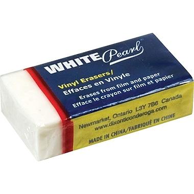 Dixon® White Pearl Vinyl Erasers, Medium Size, 24/Pack