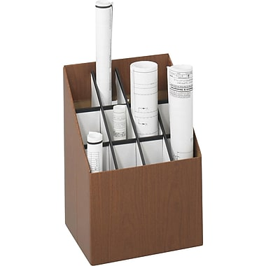 Greenguard® 100% Recycled Upright Rolled File, 12 Compartments, Wood Grain
