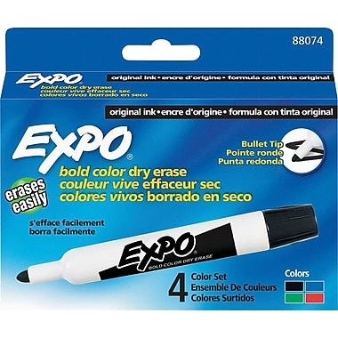 Expo® Dry-EraseMarkers, Bullet Tip, Assorted Colours, 4/Pack