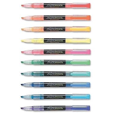 Zebra® Brights Fluorescent Highlighters, Assorted Colours, Chisel Tip, 10/Pack