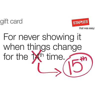 Staples® Changes Gift Card $75