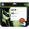 HP 60 Standard Black and Color Ink Cartridges, (D8J23FN#140) w/ Media Value Kit 2/Pack