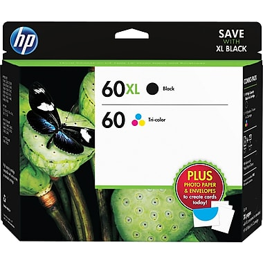 HP 60XL/60 High Yield Black and Standard Tri-color Ink, (D8J66FN#140) w/ Media Value Kit 2/Pack