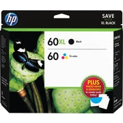HP 60XL/60 High Yield Black and Standard Tricolor Ink Cartridges w/ Media Value Kit (D8J66FN), Combo 2/Pack