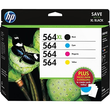 HP 564XL /564 High Yield Black and Standard C/M/Y Color Ink Cartridges, (D8J67FN#140) w/Media Value Kit 4/Pack