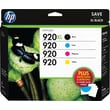 HP 920XL /920 High Yield Black and Standard C/M/Y Color Ink Cartridges w/ Media Value Kit (D8J68FN), Combo 4/Pack