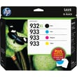 HP 932XL/933 High Yield Black and Standard C/M/Y Color Ink Cartridges w/Media Value Kit (D8J69FN), Combo 4/Pack