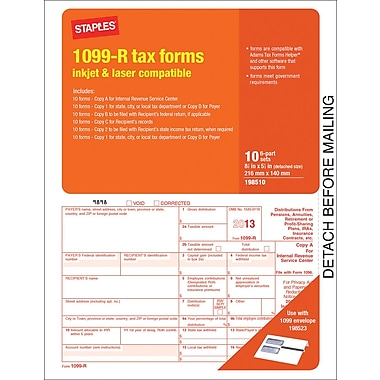 Staples® 2013 Tax Forms, 1099 R Tax Forms, 10/PK