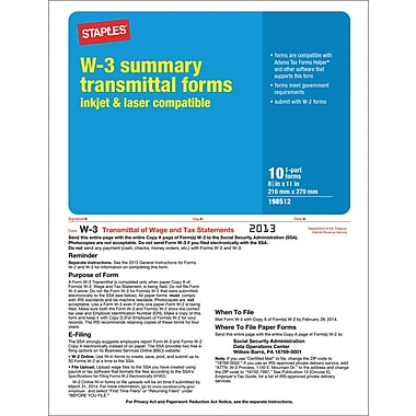 Staples® 2013 Tax Forms, W3 Summary Form, 10/PK