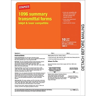 Staples® 2013 Tax Forms, 1096 Summary Form, 10/PK