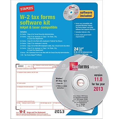 Staples® 2013 Tax Forms, W2 Tax Software Kit, 24/PK