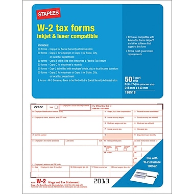 Staples® 2013 Tax Forms, W2 Laser Forms, 50/PK